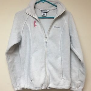 White Columbia Fleece with Breast Cancer Ribbon